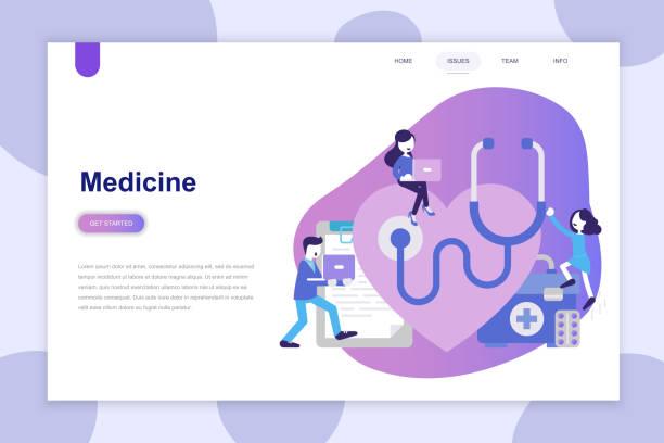 modern flat design concept of medicine for website and mobile website. - website infographics stock illustrations, clip art, cartoons, & icons