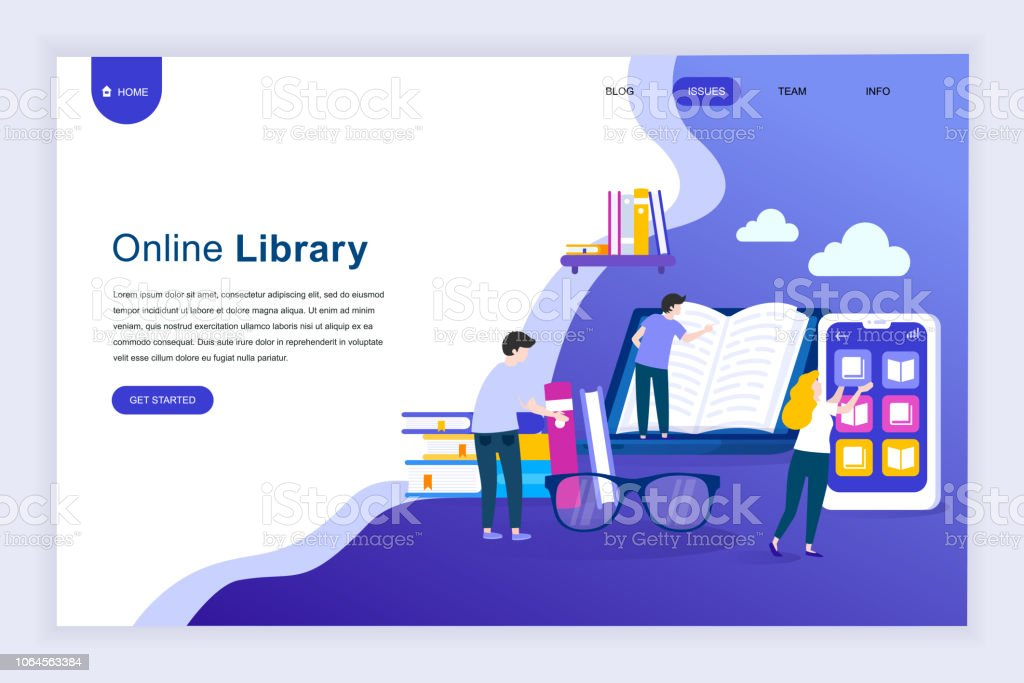 Modern flat design concept of Online Library for website vector art illustration