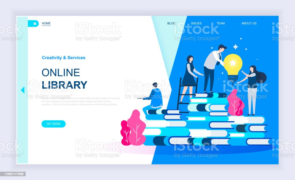 Modern flat design concept of Online Library with decorated small people character for website vector art illustration