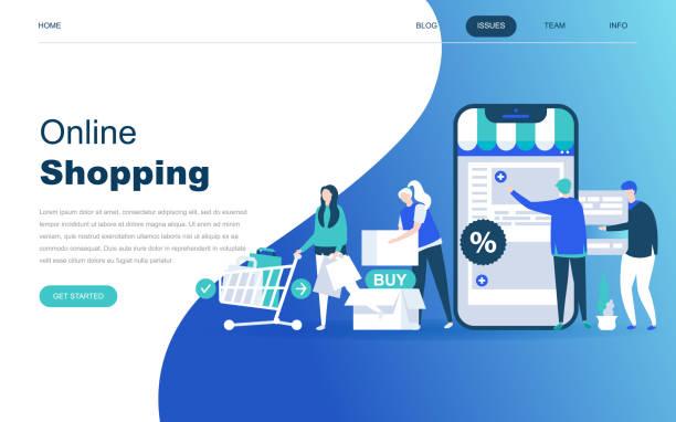 modern flat design concept of online shopping for website - online shopping stock illustrations