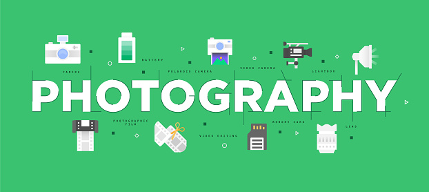 Modern flat design concept of photography