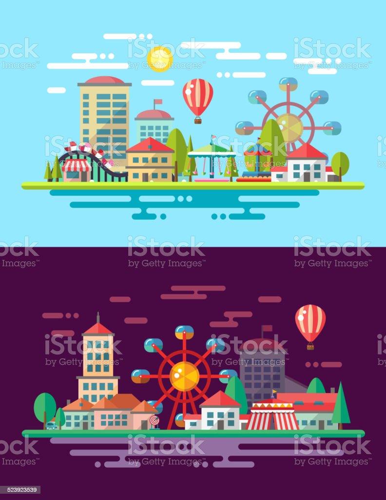Modern flat design conceptual city illustration with carousels vector art illustration