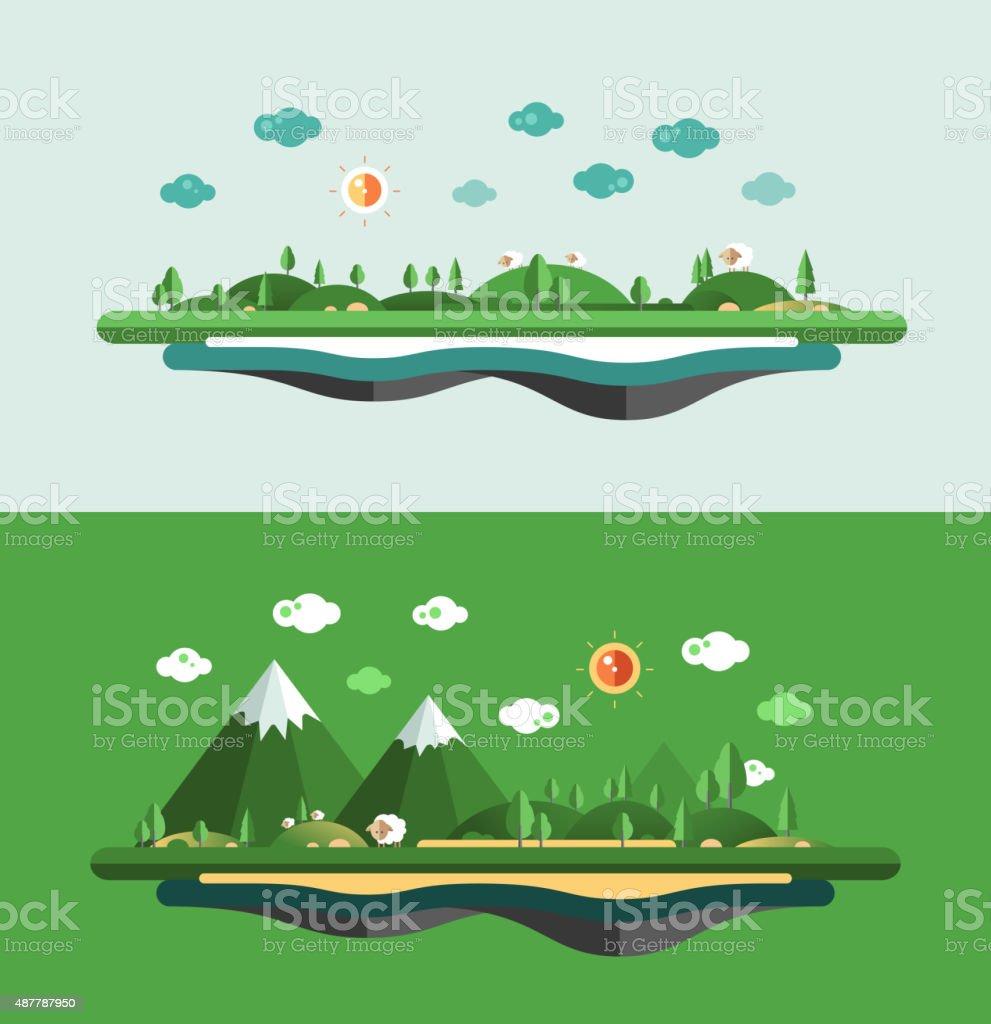 Modern flat design conceptual landscape illustration vector art illustration