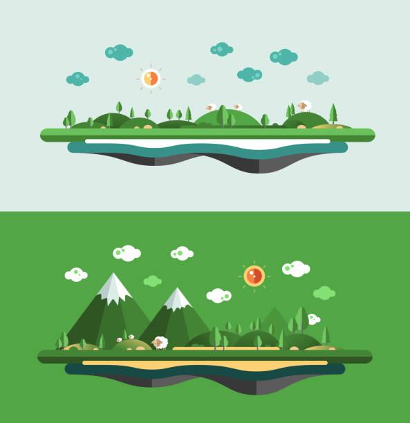 modernen flach design und konzeptionelle landschaft abbildung - landscape crazy stock-grafiken, -clipart, -cartoons und -symbole