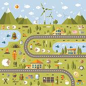 Modern vector flat design conceptual landscape illustration with info graphic elements