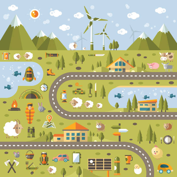 bildbanksillustrationer, clip art samt tecknat material och ikoner med modern flat design conceptual landscape illustration with info graphic elements - hund skog