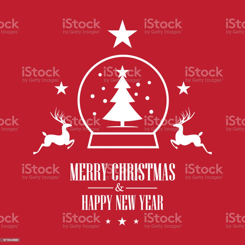 Modern Flat Design Happy New Year And Merry Christmas Card Template