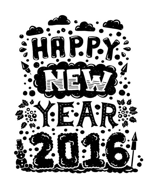 modern flat design hipster new year 2016 postcard with lettering vector art illustration