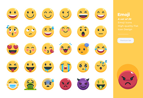 Modern flat design icons set of Emoji. 48x48 Pixel Perfect icon. High-quality Flat icon design. clipart