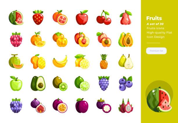 ilustrações, clipart, desenhos animados e ícones de ícones lisos modernos do projeto ajustados das frutas. ícone do pixel 48x48 perfect. projeto liso de alta qualidade do ícone. - fruit salad
