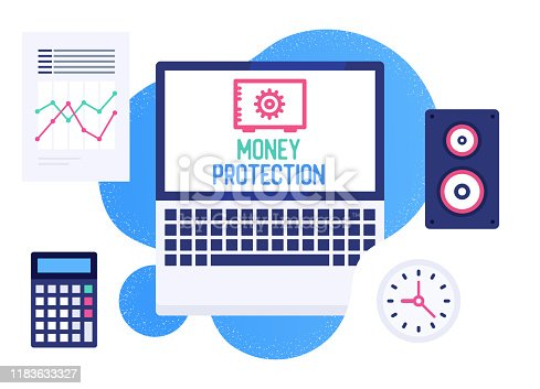 Creative flat design template with laptop and money protection text on its screen. Colorful web banner layout for corporate marketing or various vector illustrations.