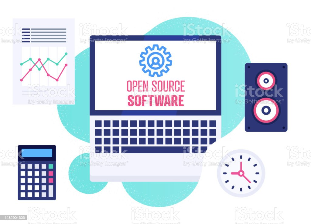 Modern Flat Design Illustration For Open Source Software Stock Illustration Download Image Now Istock