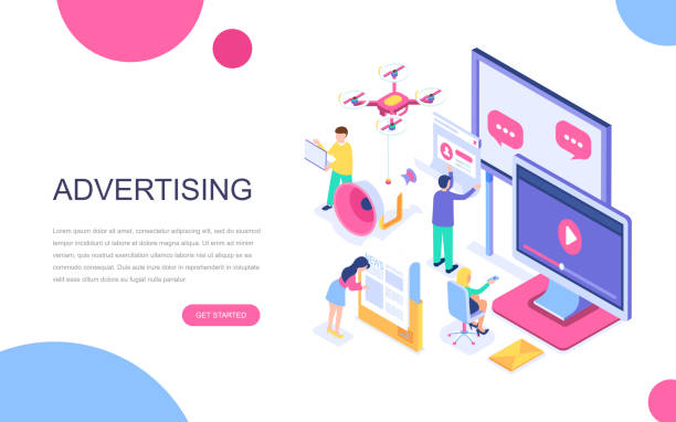 modern flat design isometric concept of advertising and promotion for banner and website. - tablica reklamowa stock illustrations