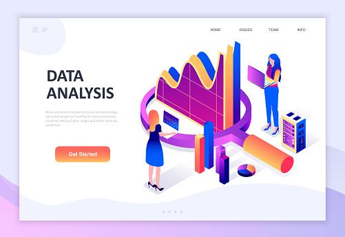Modern Flat Design Isometric Concept Of Auditing Data Analysis Decorated People Character - Stockowe grafiki wektorowe i więcej obrazów Analizować