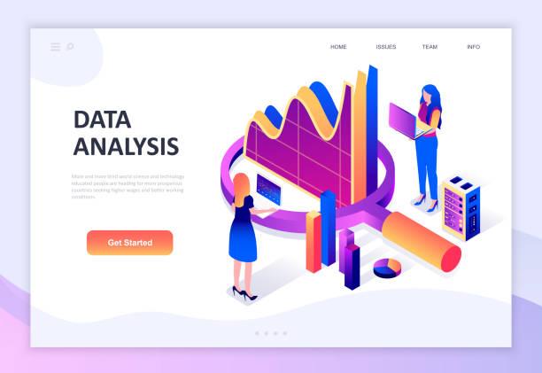 Modern flat design isometric concept of Auditing, Data Analysis decorated people character – artystyczna grafika wektorowa