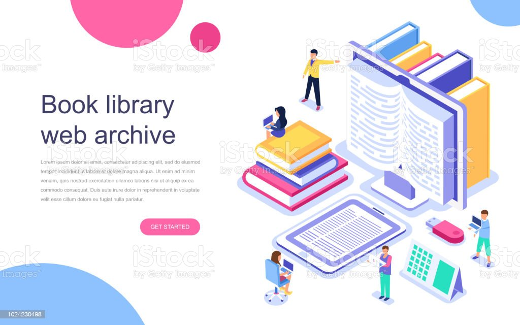 Modern flat design isometric concept of Book Library for banner and website. vector art illustration