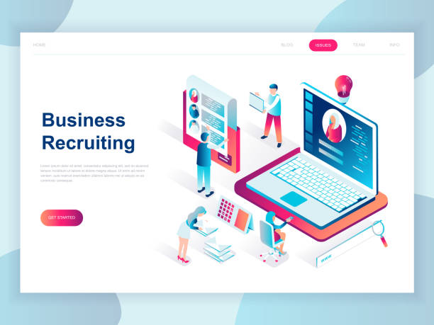 Modern flat design isometric concept of Business Recruiting for banner and website. Modern flat design isometric concept of Business Recruiting for banner and website. Isometric landing page template. Employer, businessman resources, hr job presentation. Vector illustration. military recruit stock illustrations