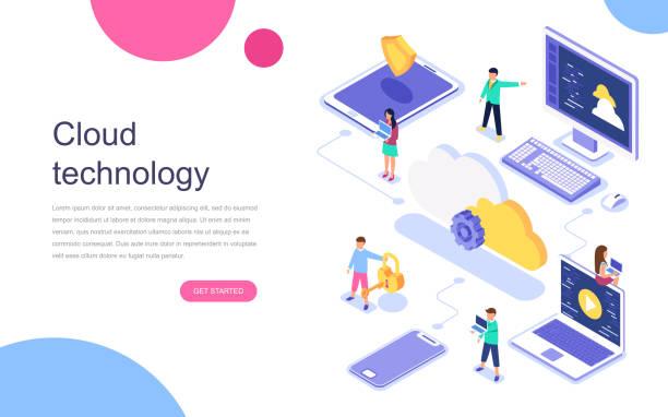 stockillustraties, clipart, cartoons en iconen met moderne platte ontwerp isometrische concept van cloud-technologie voor banner en website. - cloud computing