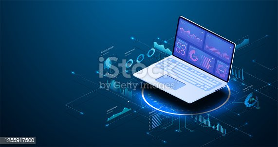 istock Modern flat design isometric concept of Data Analysis for website and mobile website. Data analytics for company marketing solutions or financial performance. Budget accounting or statistics concept. 1255917500