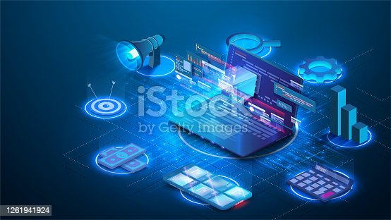 istock Modern flat design isometric concept of Digital Marketing for banner and website.  Abstract 3d vector background. Web development, social media concept. Landing page template. Digital technologies 1261941924