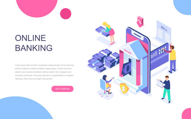 modern flat design isometric concept of online banking for banner and website. - bank stock illustrations