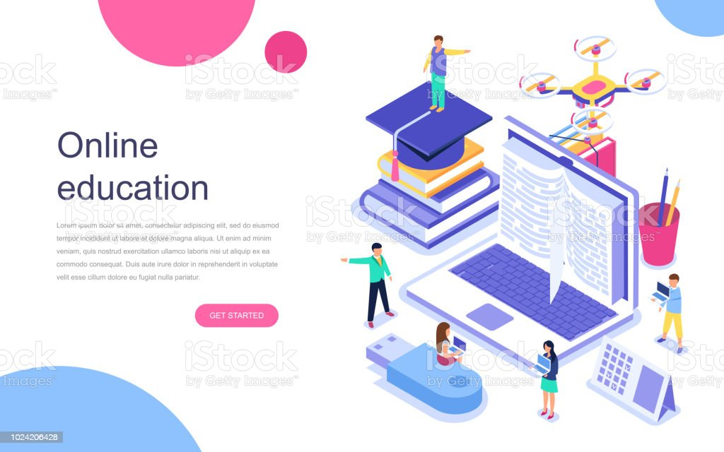 Modern flat design isometric concept of Online Education for banner and website. royalty-free modern flat design isometric concept of online education for banner and website stock illustration - download image now