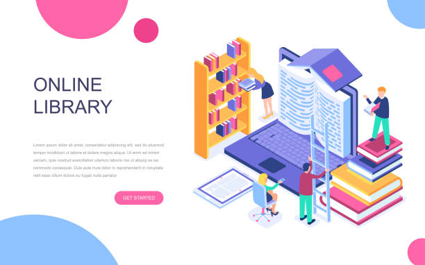 Modern flat design isometric concept of Online Library for banner and website. Modern flat design isometric concept of Online Library for banner and website. Isometric landing page template. Technology and literature, digital culture on media library. Vector illustration. dictionary stock illustrations