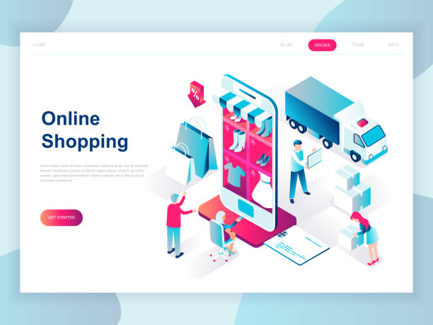 modern flat design isometric concept of online shopping for banner and website. - handel detaliczny stock illustrations