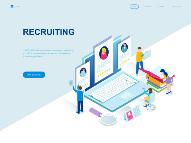 Modern flat design isometric concept of Recruiting decorated people character Modern flat design isometric concept of Recruiting decorated people character for website and mobile website development. Isometric landing page template. Vector illustration. military recruit stock illustrations