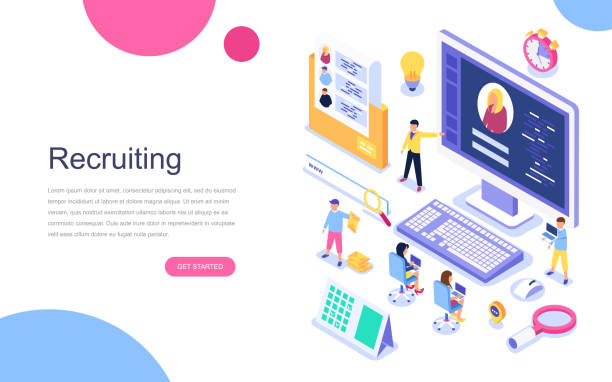 Modern flat design isometric concept of Recruiting for banner and website. Modern flat design isometric concept of Recruiting for banner and website. Landing page template. Employer, businessman resources, hr job presentation for occupation choose. Vector illustration. military recruit stock illustrations