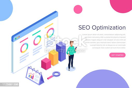 Modern flat design isometric concept of SEO Analysis for banner and website. Search engine optimization, strategies and marketing. Isometric landing page template.