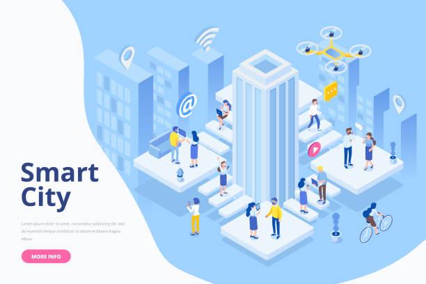 ilustrações de stock, clip art, desenhos animados e ícones de modern flat design isometric concept of smart city. business center with skyscraper. - smart city