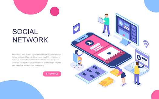 Modern flat design isometric concept of Social Network for banner and website.