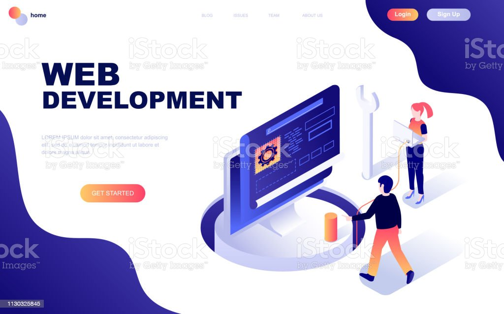 Modern flat design isometric concept of Web Development decorated people character royalty-free modern flat design isometric concept of web development decorated people character stock illustration - download image now