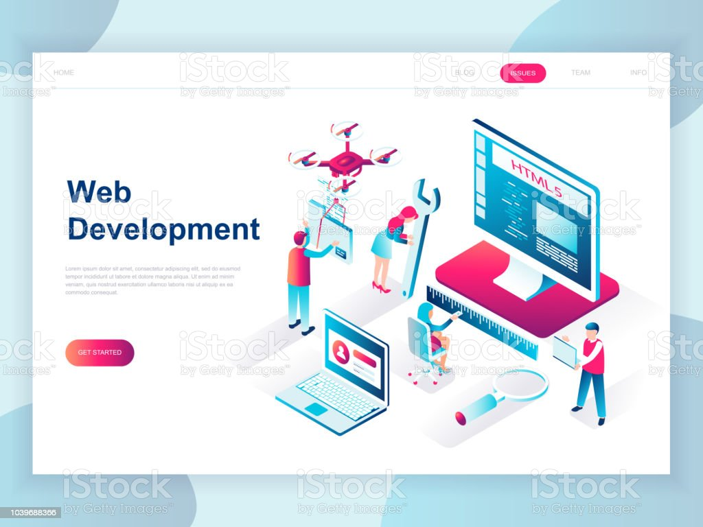 Modern Flat Design Isometric Concept Of Web Development For Banner And Website Stock Illustration Download Image Now Istock
