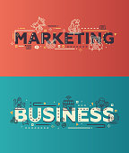 Modern flat design Marketing, Business lettering with business line icons