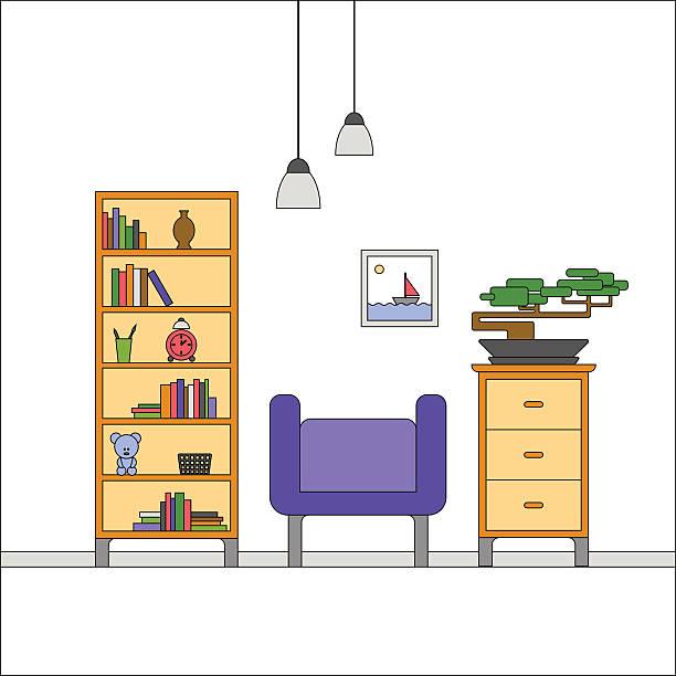 modernen flach entwurf interior von wohnzimmer - bleistifthalter stock-grafiken, -clipart, -cartoons und -symbole