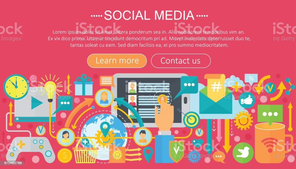Modern Flat Design Social Media Concept Social Media Icons Website Header App Design Poster Digital Marketing Infographics Template Vector Illustration Stock Illustration Download Image Now Istock
