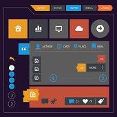 Modern flat design UI kit for mobile devices