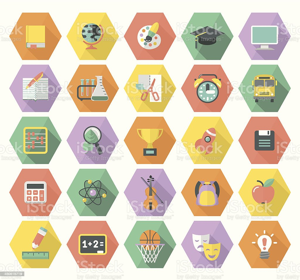 Modern Flat Education Icons in Hexagons vector art illustration
