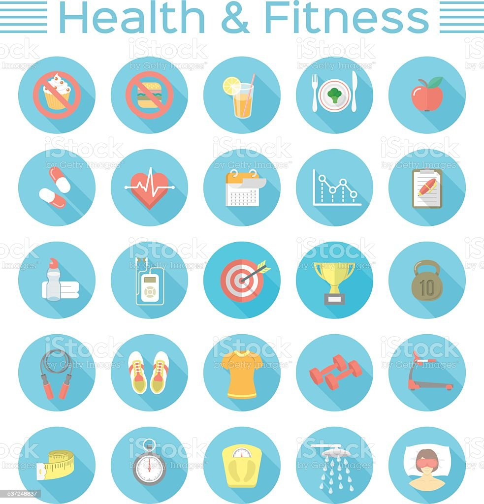 Modern Flat Fitness and Wellness Icons vector art illustration