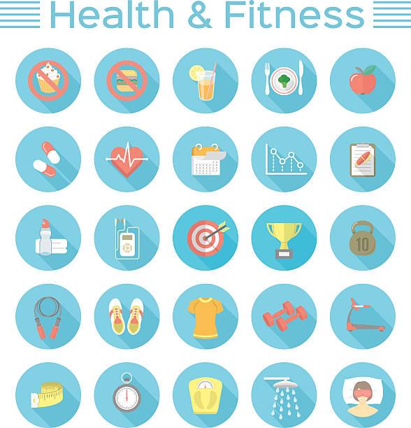 bildbanksillustrationer, clip art samt tecknat material och ikoner med modern flat fitness and wellness icons - calendar workout