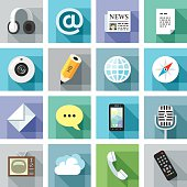 Set of modern flat icons with long shadows. Communication. Included: Vector EPS 10, HD JPEG 4000 x 4000 px, AI CS6