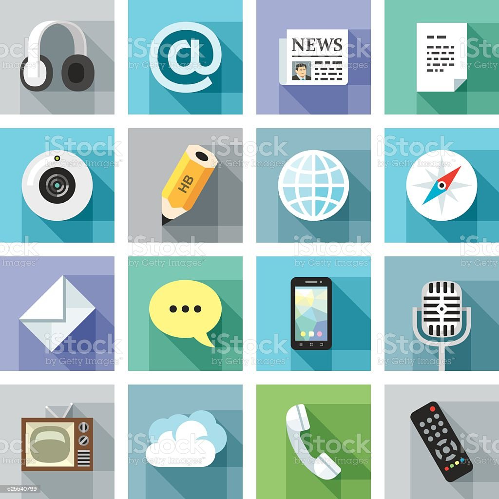 Modern flat icons. Communication vector art illustration