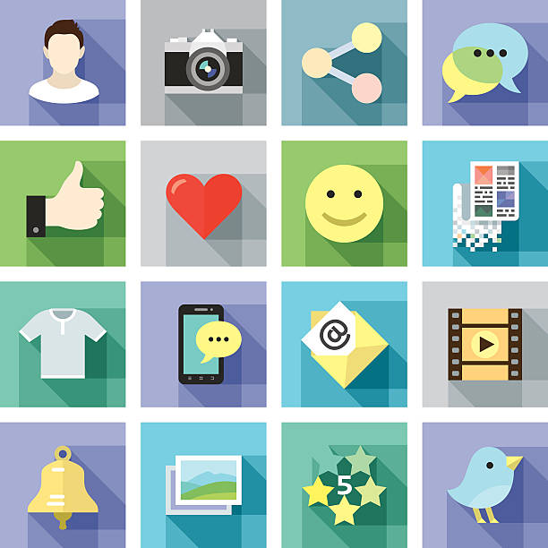 moderne flache icons. social medien - tierfotografie stock-grafiken, -clipart, -cartoons und -symbole