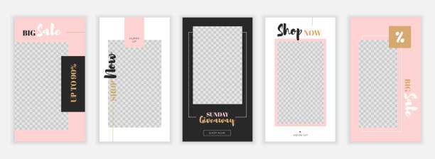 modern flat instagram stories template, for blog and sales, web online shopping banner concept.minimalistic geometric trendy sale app screens, ready to use button shop now - instagram stock illustrations