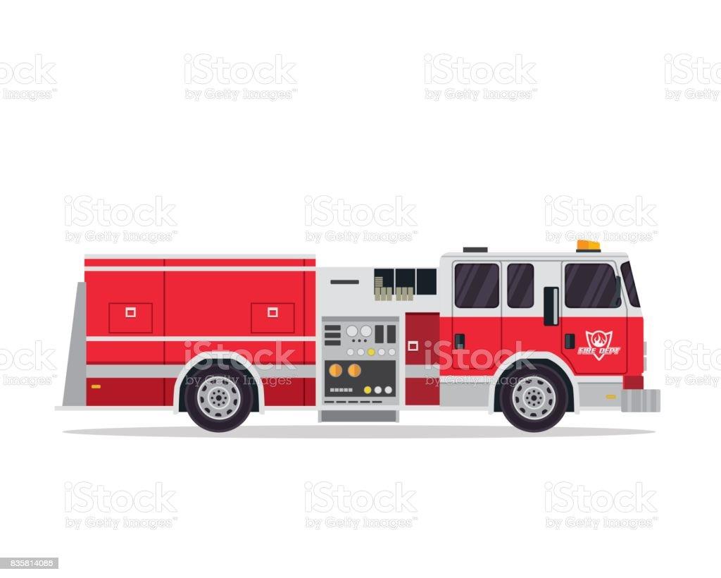 Modern Flat Isolated Firefighter Truck Illustration vector art illustration