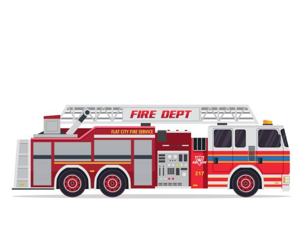 Modern Flat Isolated Firefighter Truck Illustration Flat Firefighter truck illustration, suitable for book, print, game asset, logo, infographic and other design related occasion. fire engine stock illustrations
