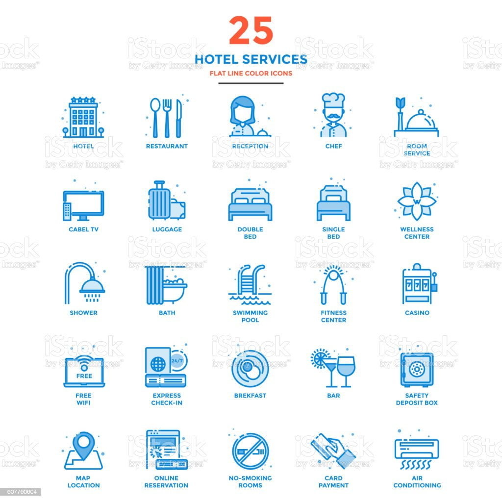 Modern Flat Line Color Icons- Hotel Services vector art illustration