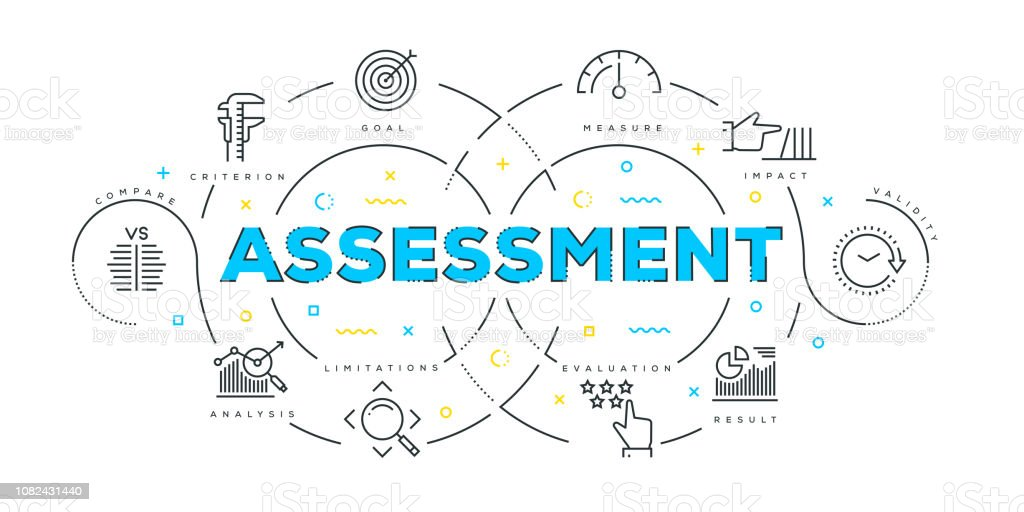 Modern Flat Line Design Concept of Assessment - Векторная графика Анализировать роялти-фри